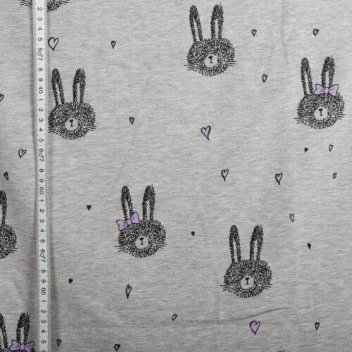 Süßes Kaninchen Grau Meliert / Flieder